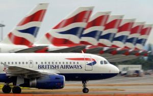 A British Airways aircraft taxis past ot