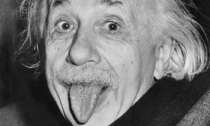Albert Einstein sticking his tongue out