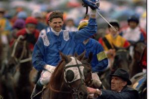 WAYNE HARRIS AFTER WINNING THE 1994 MELBOURNE CUP RIDING JEUNE