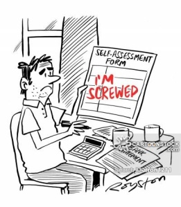 Man's self-assessment form says: 'I'm screwed.'